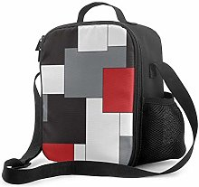 Insulated Lunch Bag Block Red Black Gray White