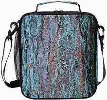 Insulated Lunch Bag Blue Brown Bark Reusable