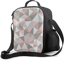 Insulated Lunch Bag Blush and Gray Geometric