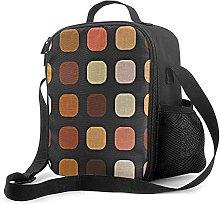 Insulated Lunch Bag Blush Orange Brown Retro Chic