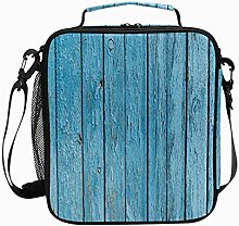 Insulated Lunch Bag Brown Wood Plank Reusable