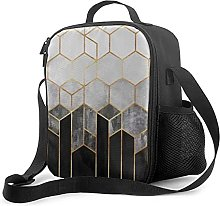 Insulated Lunch Bag Charcoal Hexagons Cooler Bag