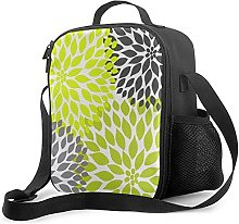 Insulated Lunch Bag Chartreuse Green Gray Dahlia