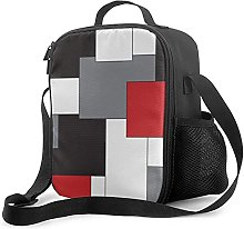 Insulated Lunch Bag Color Block Red Black Gray