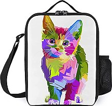 Insulated Lunch Bag Color Cat Lunch Box Portable