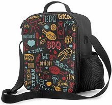 Insulated Lunch Bag Colorful Cafe Menu Design
