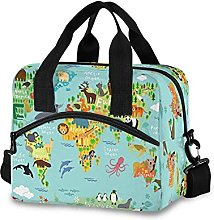 Insulated Lunch Bag Cooler Bag Animal World Map