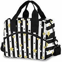 Insulated Lunch Bag Cooler Bag Black White Gold