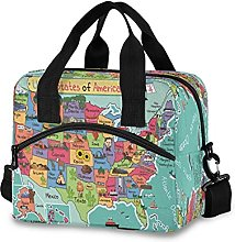 Insulated Lunch Bag Cooler Bag Educational USA Map