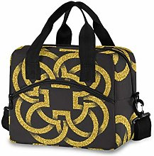 Insulated Lunch Bag Cooler Bag Gold Four Petals