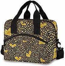 Insulated Lunch Bag Cooler Bag Gold Heart Glitter
