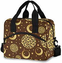 Insulated Lunch Bag Cooler Bag Gold Leopard Point