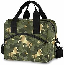 Insulated Lunch Bag Cooler Bag Gold Unicorn On