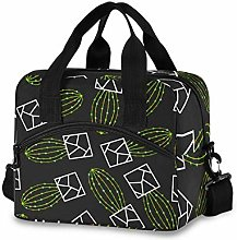 Insulated Lunch Bag Cooler Bag Green Cactus Lunch
