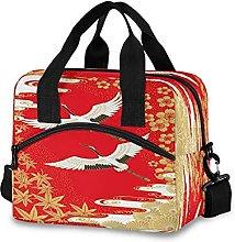 Insulated Lunch Bag Cooler Bag Japanese Bird Crane