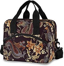 Insulated Lunch Bag Cooler Bag Japanese Flower