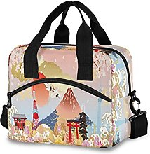 Insulated Lunch Bag Cooler Bag Japanese Pattern