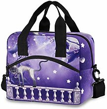 Insulated Lunch Bag Cooler Bag Purple Moon with A