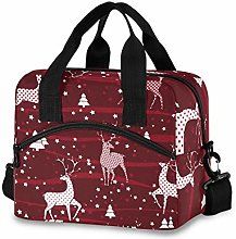 Insulated Lunch Bag Cooler Bag Red White Xmas
