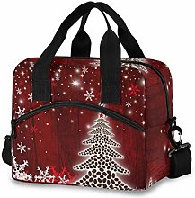 Insulated Lunch Bag Cooler Bag Snowflake Red