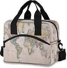 Insulated Lunch Bag Cooler Bag Vintage World Map
