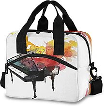 Insulated Lunch Bag Cooler Bag Watercolor Piano