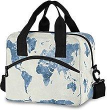 Insulated Lunch Bag Cooler Bag World Map Vintage