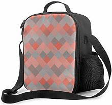 Insulated Lunch Bag Coral & Gray Mosaic Diamond