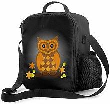 Insulated Lunch Bag Cute Orange Halloween Owl