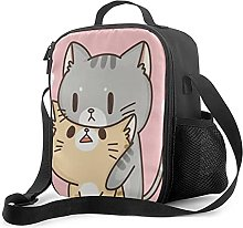 Insulated Lunch Bag Cute White Cat Lunch Box with