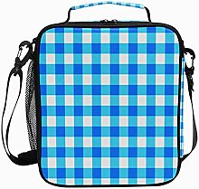 Insulated Lunch Bag Dark Light Blue Plaid Reusable