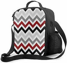 Insulated Lunch Bag Dark Red Black Gray Chevron