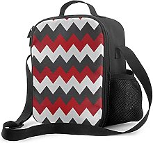 Insulated Lunch Bag Dark Red Gray and White