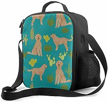 Insulated Lunch Bag Doodle Dog Cactus Fabric