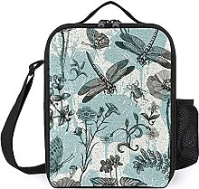 Insulated Lunch Bag Dragonfly Butterfly Lunch Box