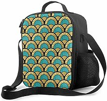 Insulated Lunch Bag Duck Egg and Gold Art Deco Fan