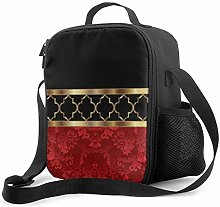 Insulated Lunch Bag Elegant Red Black & Gold