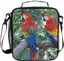 Insulated Lunch Bag Exotic Scarlet Macaw Budgie