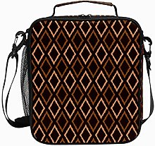 Insulated Lunch Bag Fabric Square Brown Reusable