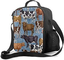 Insulated Lunch Bag Farm, Cow, Lunch Box with