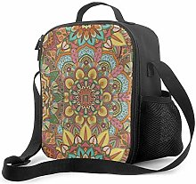 Insulated Lunch Bag Flower Pattern Cooler Bag