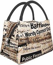 Insulated Lunch Bag for Men Women Newsprint Text