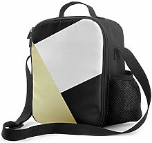 Insulated Lunch Bag Geometric Black White &