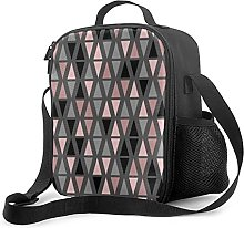 Insulated Lunch Bag Geometric Grey Blush and Coral