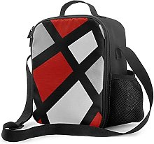 Insulated Lunch Bag Geometric Red Gray Black White