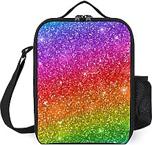 Insulated Lunch Bag Glitter Rainbow Lunch Box