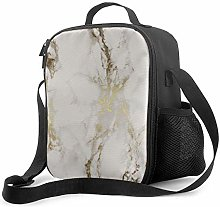 Insulated Lunch Bag Gold Marble Cooler Bag
