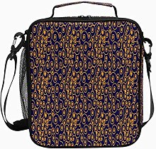 Insulated Lunch Bag Gold Spiral Pattern Texture