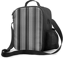 Insulated Lunch Bag Gray and Black Striped Burlap