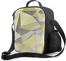 Insulated Lunch Bag Gray and Yellow Abstract